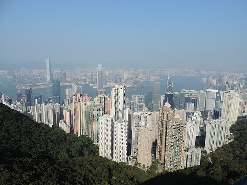 The Hong Kong skyline. A busy place and great for a scavenger hunt.