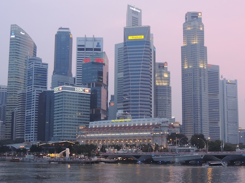 The Singapore Skyline as seen from Waterfront Promenade.  Ideal scavenger hunt location.