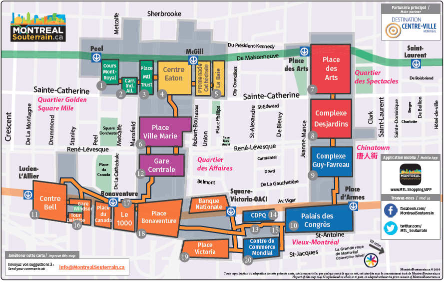 A map of the underground in Montreal.